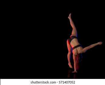woman athlete gymnast performing acrobatic elements on a black background in the scenic red and blue light.