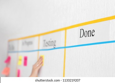 Woman attaching sticky note to scrum task board in office