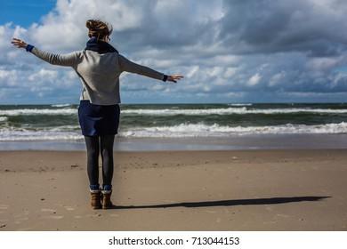 woman autumn seaside beach