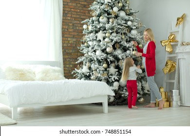 Woman with baby in Christmas