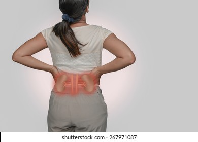 woman back Pain and Kidneys.