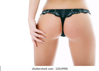 woman back in pants with hand on white background