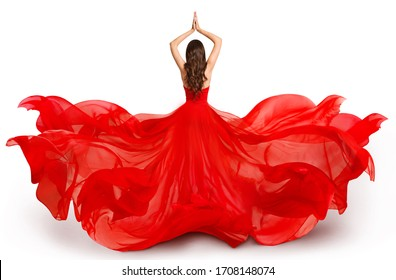 Woman Back Rear side in Red Flying Dress Waving on Wind, Fashion Model in Flowing Gown on White