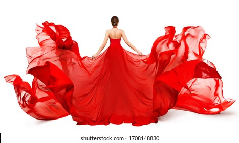 Woman Back Rear view in Red Flying Dress Fluttering on Wind, Girl in Blowing Waving Gown Clothes on White