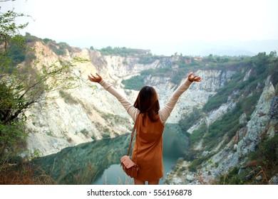 Woman back view mountain gran canyon Thailand