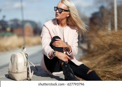 Woman background of spring landscape