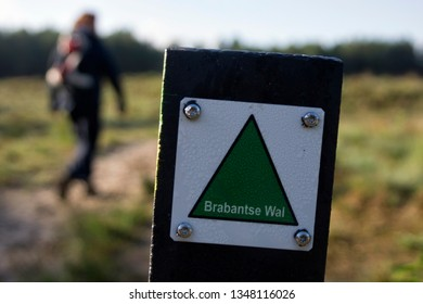 Woman with backpack hiking a nature trail in the Dutch nature reserve Brabantse Wal