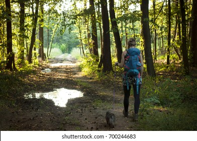 Woman with backpack walking with her pet in the forest. Warm natural light. Travel concept. Beautiful landscape. Contrast.