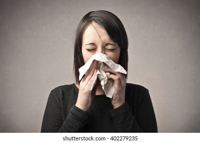 Woman with a bad cold