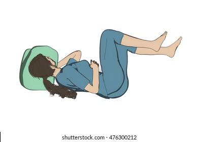 Woman bad inccorect sleep posture illustration isolated