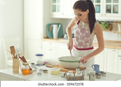 Woman baking at home