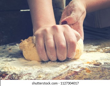 Woman baking on the table