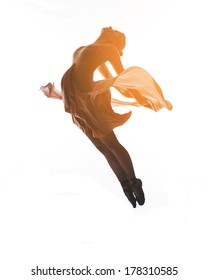 woman ballerina ballet dancer dancing in silhouette on white background
