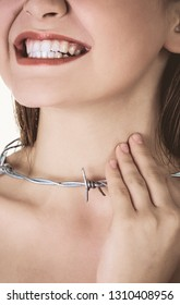 Woman with barbed wire around her throat. Pharyngitis inflammation.
