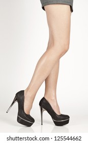 Woman bare legs with shoes