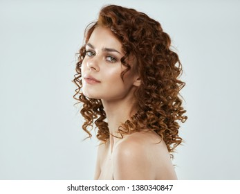 Woman with bare shoulders makeup cosmetology skin care