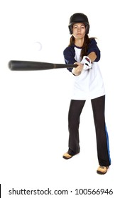 Woman baseball or Softball player hits a ball with a bat  isolated on white.