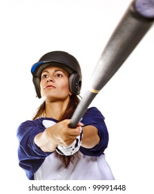 Woman baseball or Softball player swinging a bat isolated on  white.