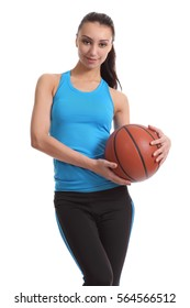 Woman with basket ball on white background