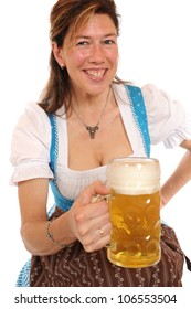 Woman with a Bavarian Dirndl and a beer stein