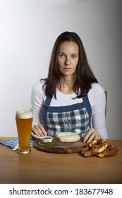 woman with bavarian sausages