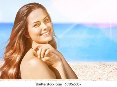 Woman at beach.