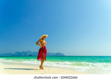 Woman at the beach in Koh Poda island