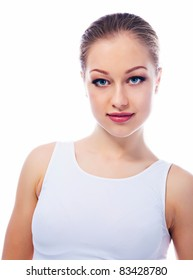 Woman with beautiful face. Healthy lifestyle concept .
