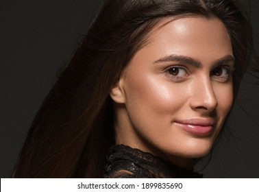 Woman beautiful face with healthy skin close up smile happy face
