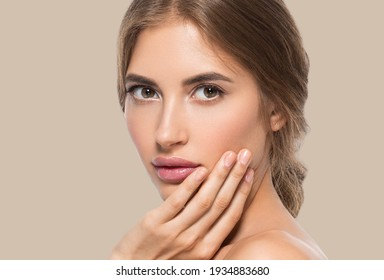 Woman beautiful face healthy skin care natural beauty young model