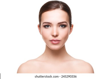 Woman with beautiful face on white background