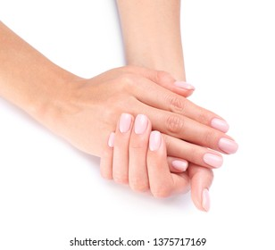 Woman with beautiful hands on white background, closeup. Spa treatment