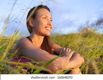 Woman in beautiful nature setting