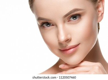 Woman beautiful nice face beauty concept with healthy skin