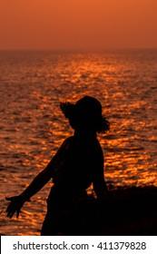 Woman with beautiful sunset light.
