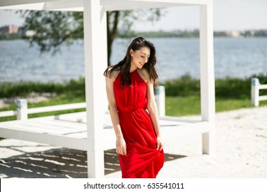 woman beauty beach red summer
