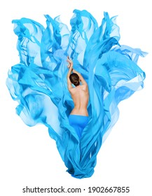Woman Beauty Body Back Side View. Slim Girl Model in Blue Flying Fabric on Wind. Isolated White