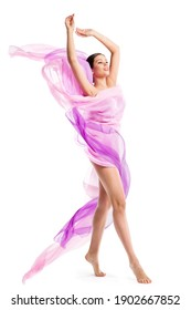 Woman Beauty Body Legs Care. Slim Girl Model in Perfect Shape. Pink Flying Fabric on Wind. White Background. Plastic Surgery Concept