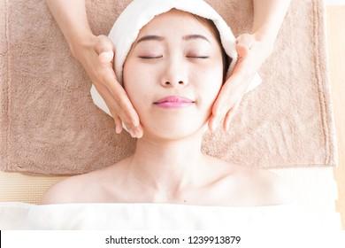 Woman at beauty care salon