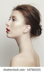 Woman beauty. Close up portrait of a beautiful woman. Studio shot.