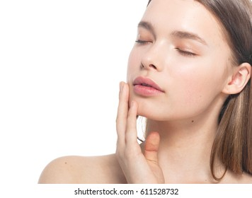 Woman beauty face closed eyes with hand portrait isolated on white with healthy skin