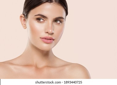 Woman beauty face healthy clean fresh skin natural makeup beauty eyes and lips female young model