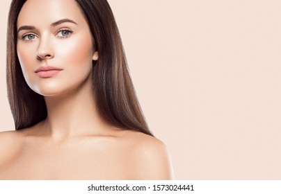 Woman beauty face healthy skin color background natural makeup