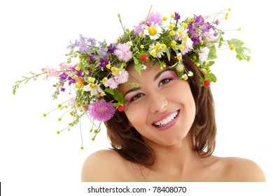 woman beauty face makeup with summer field wild flowers fresh natural isolated on white background