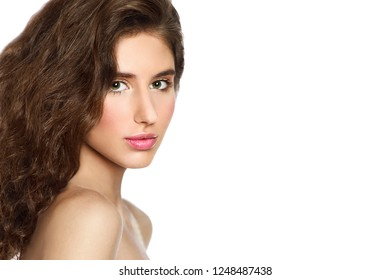 Woman beauty face portrait with healthy skin isolated on white background. Beautiful spa model with perfect fresh clean skin. Youth and skin care concept
