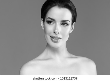 Woman beauty face skin care concept, healthy skin female face black and white monochrome portrait