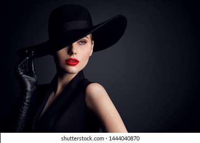 Woman Beauty in Hat, Elegant Fashion Model Retro Style Portrait on Black
