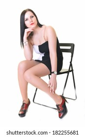 Woman with beauty long black hair - posing at studio