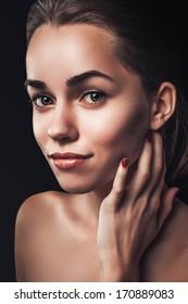 Woman beauty portrait close up female face dark glamour
