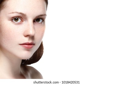 Woman beauty portrait closeup with healthy skin.  Studio shot. Isolated on white.